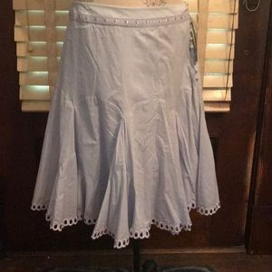 Retro lined skirt with button and ribbon trim
